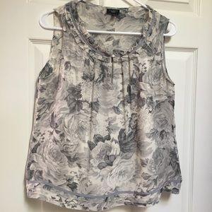 Talbots Grey Floral silk blouse sleeveless sz 10P